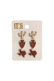 Riah Fashion 3-Set-Texas Map-Cactus-Stud-Post-Earring - Front cropped