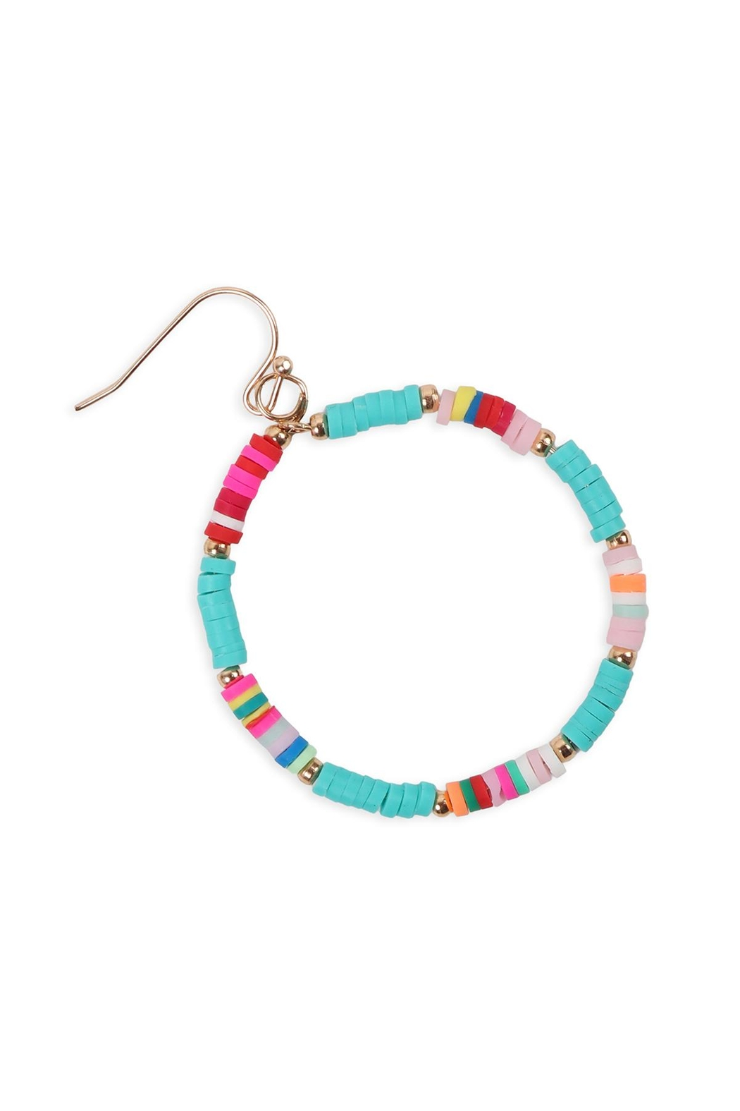 Riah Fashion 35mm Rubber Disc Hook Earrings - Side Cropped Image