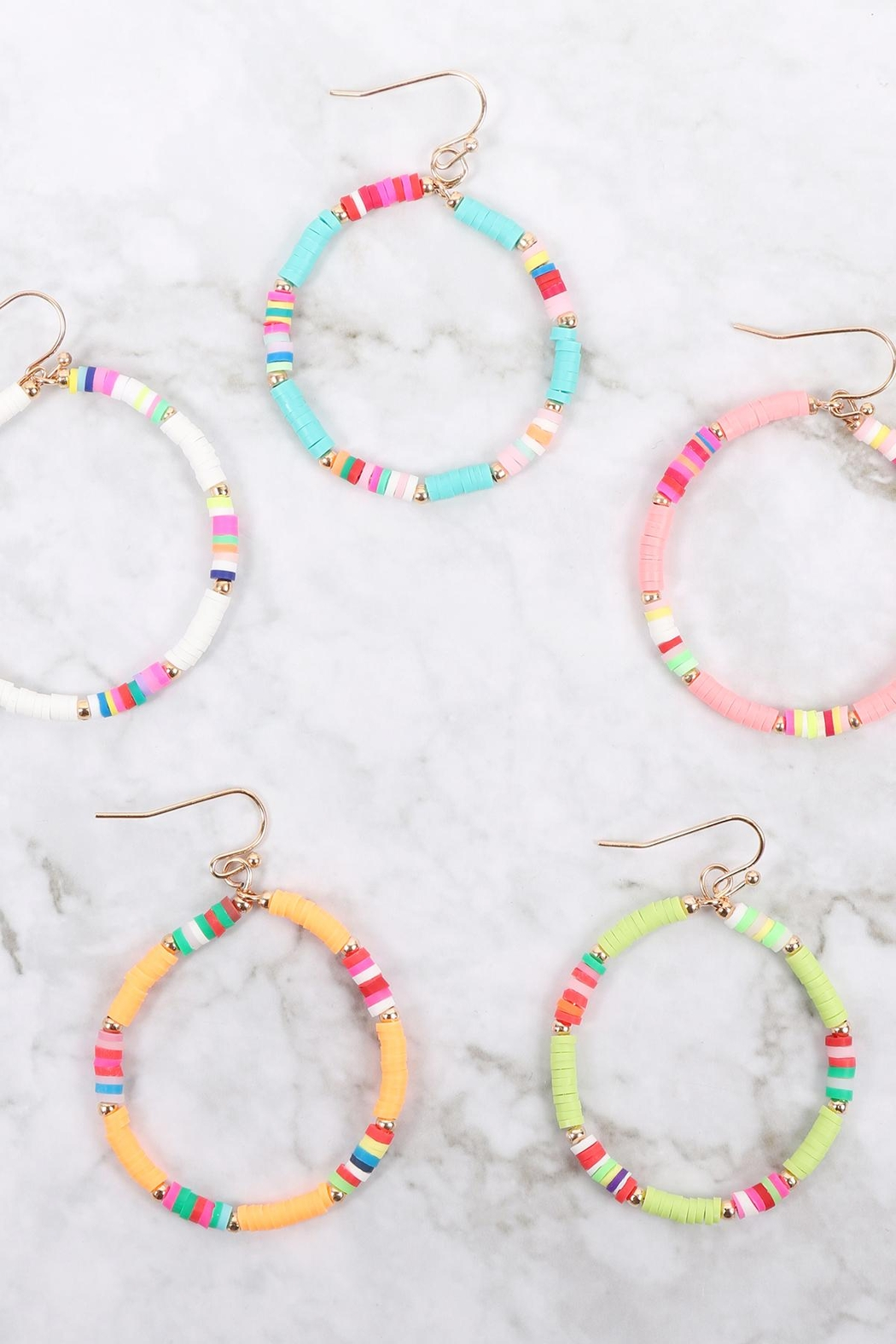 Riah Fashion 35mm Rubber Disc Hook Earrings - Front Full Image
