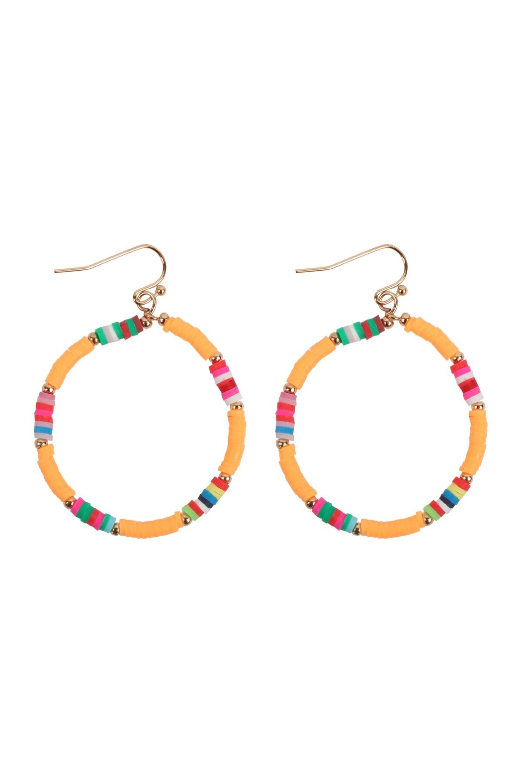 Riah Fashion 35mm Rubber Disc Hook Earrings - Front Cropped Image