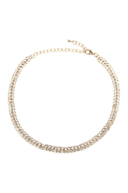 Riah Fashion 3mm-2line Rhinestone-Choker-Necklace And-Earring-Set - Front cropped