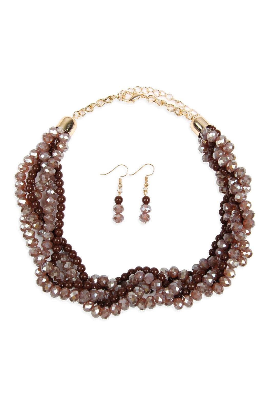 Riah Fashion 4-Lines Braided-Glass-Beads Necklace-And-Earring-Set - Front Cropped Image