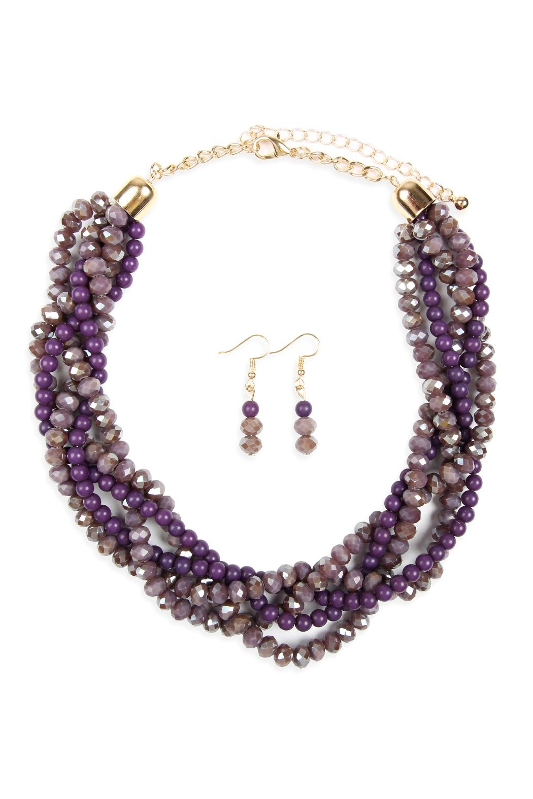 Riah Fashion 4-Lines Braided-Glass-Beads Necklace-And-Earring-Set - Main Image