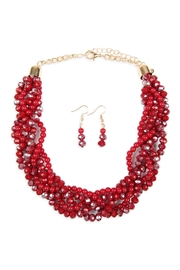Riah Fashion 4-Lines Braided-Glass-Beads Necklace-And-Earring-Set - Front cropped