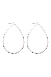 Riah Fashion 40x50mm-Pear-Shape-Hoop-Rhinestone-Earrings - Front cropped
