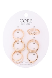 Riah Fashion 6-Set-Assorted-Textured-Cubic-With-Center-Stone-Ring - Product Mini Image
