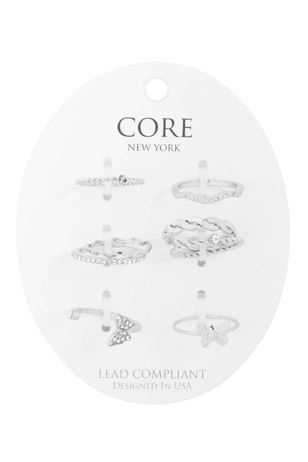 Riah Fashion 6-Set-Twist-Curve-Cubic-Zirconia-Assorted-Ring-Set - Front Cropped Image