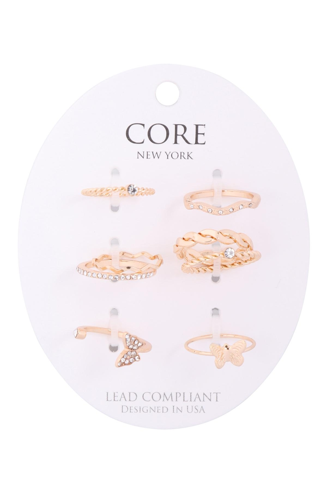 Riah Fashion 6-Set-Twist-Curve-Cubic-Zirconia-Assorted-Ring-Set - Main Image