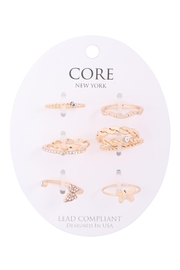Riah Fashion 6-Set-Twist-Curve-Cubic-Zirconia-Assorted-Ring-Set - Front cropped