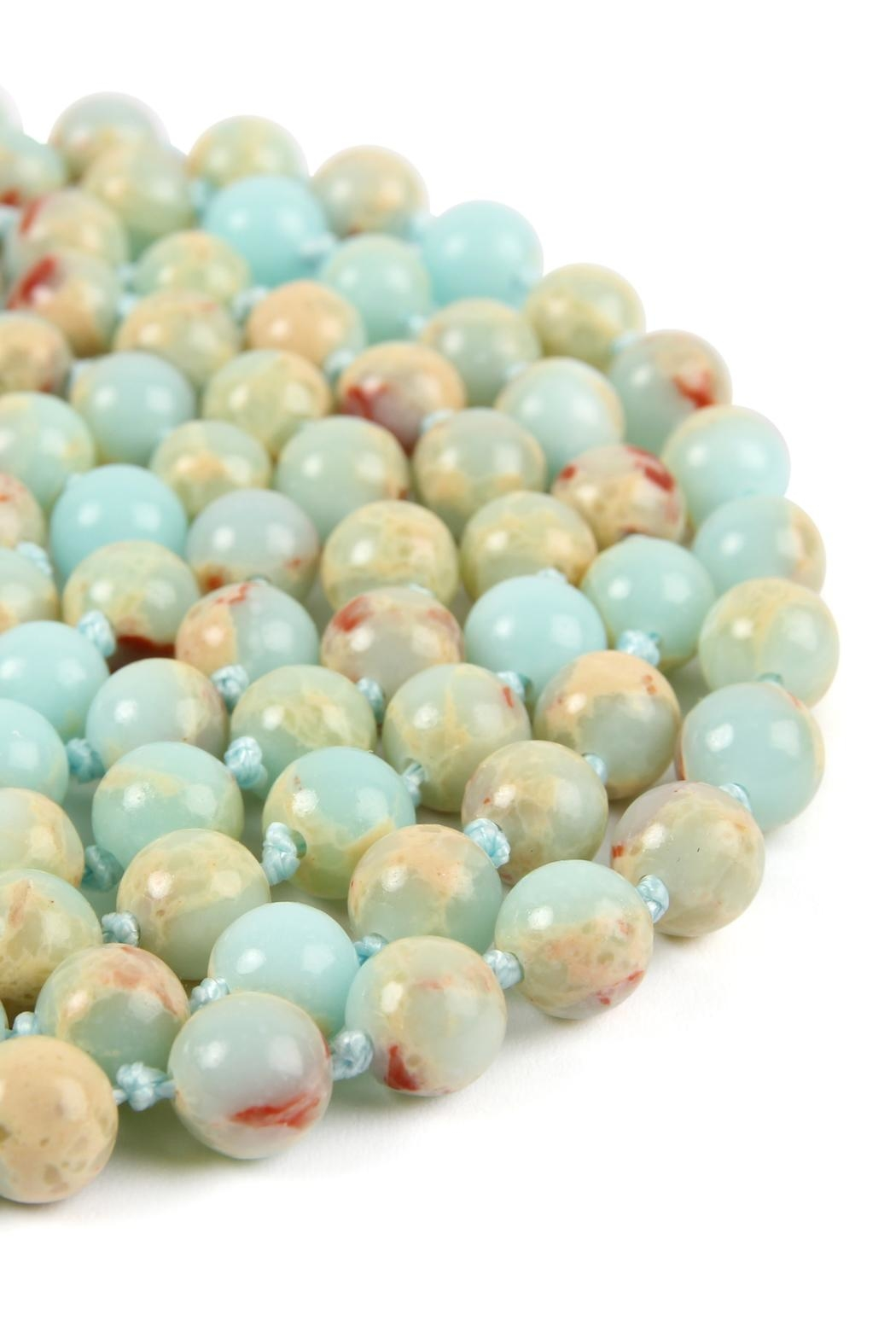 Riah Fashion 60-Inches Marble-Beads Long-Necklace - Front Full Image