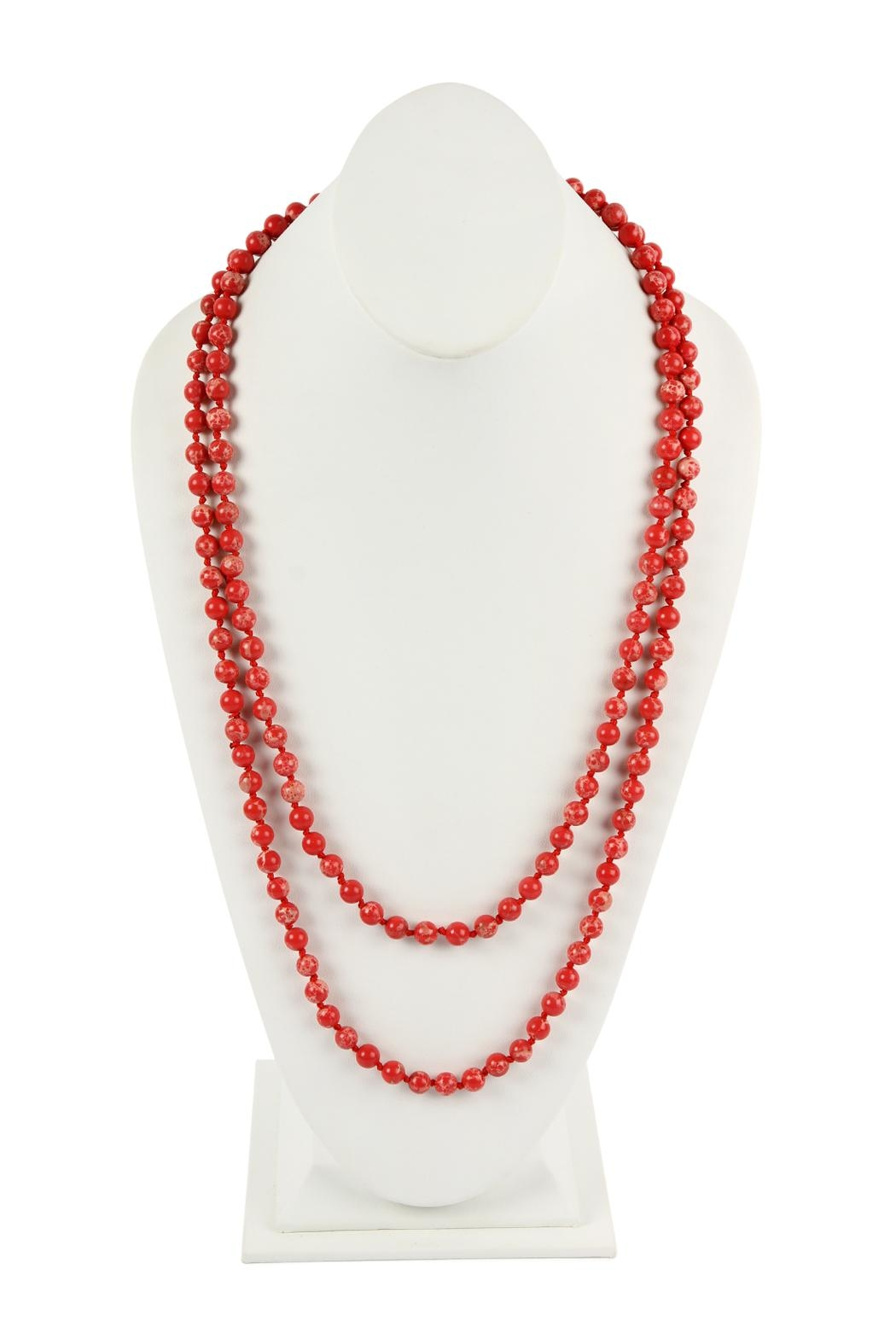 Riah Fashion 60-Inches Marble-Beads Long-Necklace - Front Cropped Image