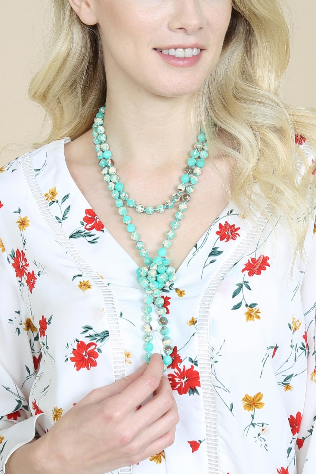 Riah Fashion 60-Inches Marble-Beads Long-Necklace - Side Cropped Image
