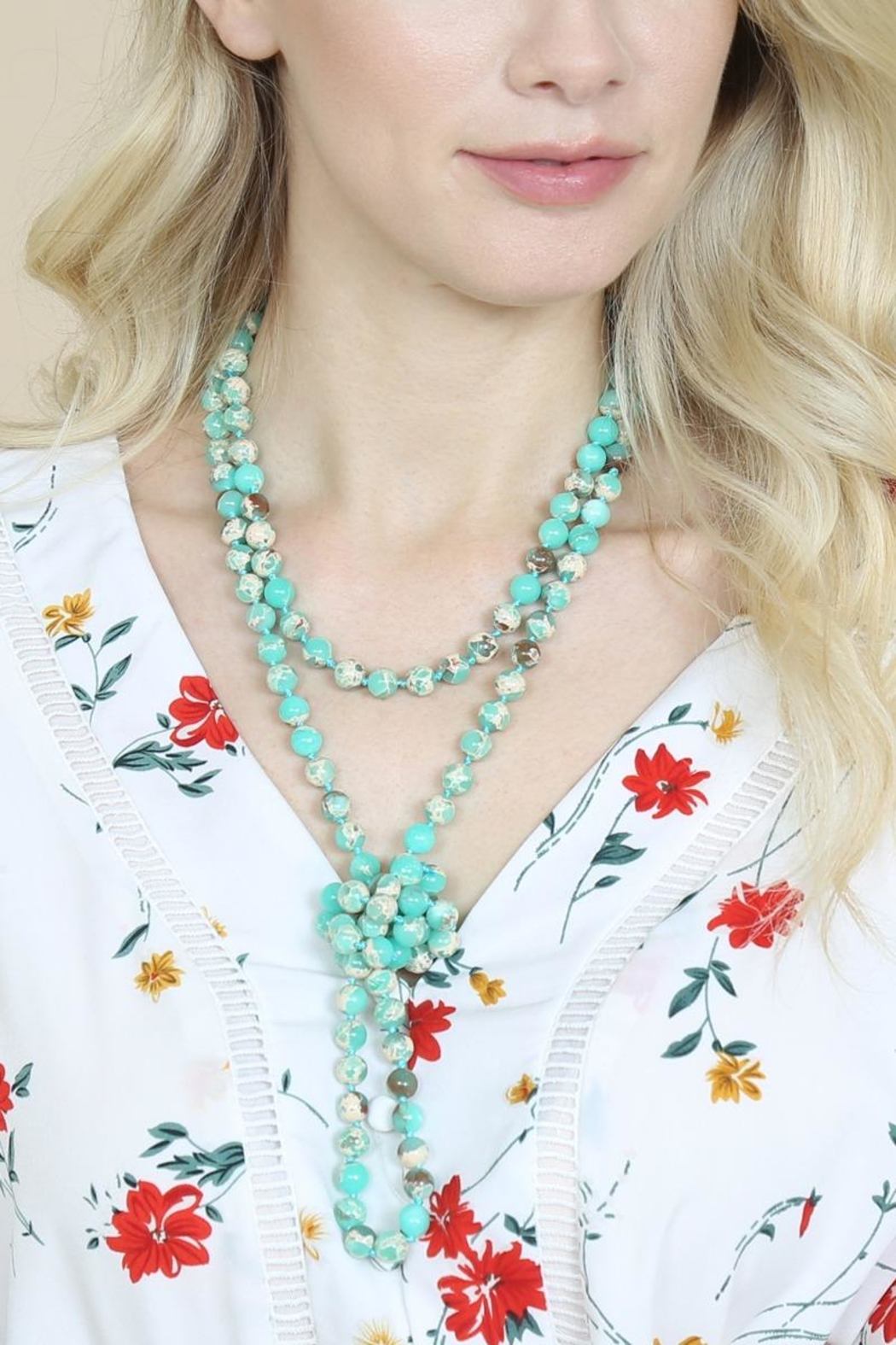 Riah Fashion 60-Inches Marble-Beads Long-Necklace - Back Cropped Image