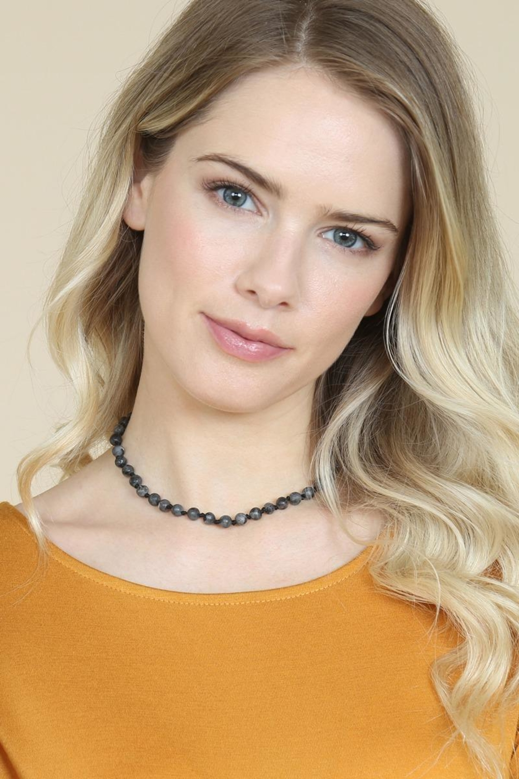 Riah Fashion 6mm Natural-Stone-Necklace - Back Cropped Image