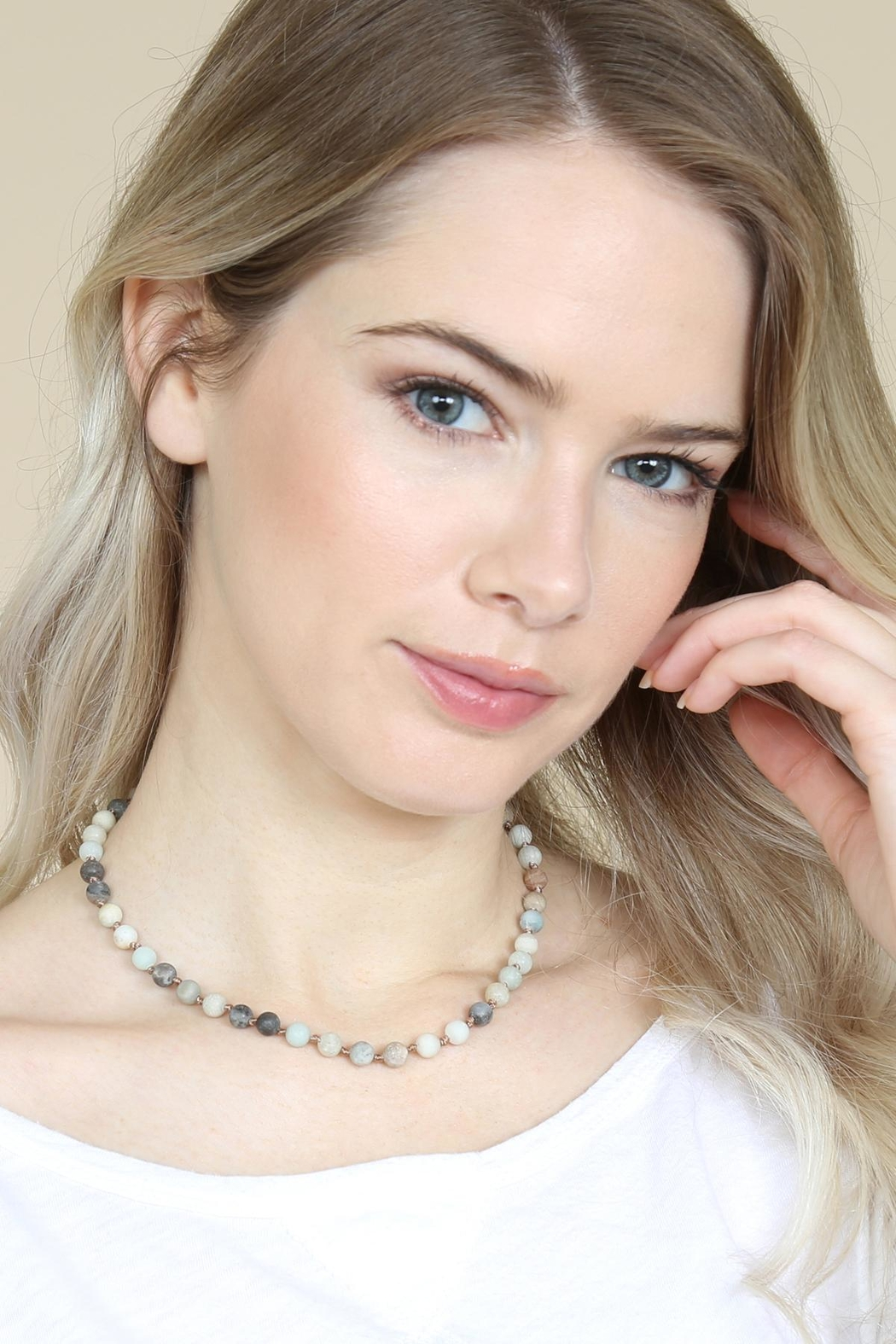 Riah Fashion 6mm Natural-Stone-Necklace - Side Cropped Image