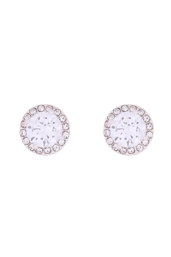 Riah Fashion 8mm-Round-Cubic-Zirconia-Halo-Post-Earrings - Product List Image
