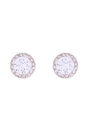 Riah Fashion 8mm-Round-Cubic-Zirconia-Halo-Post-Earrings - Front cropped