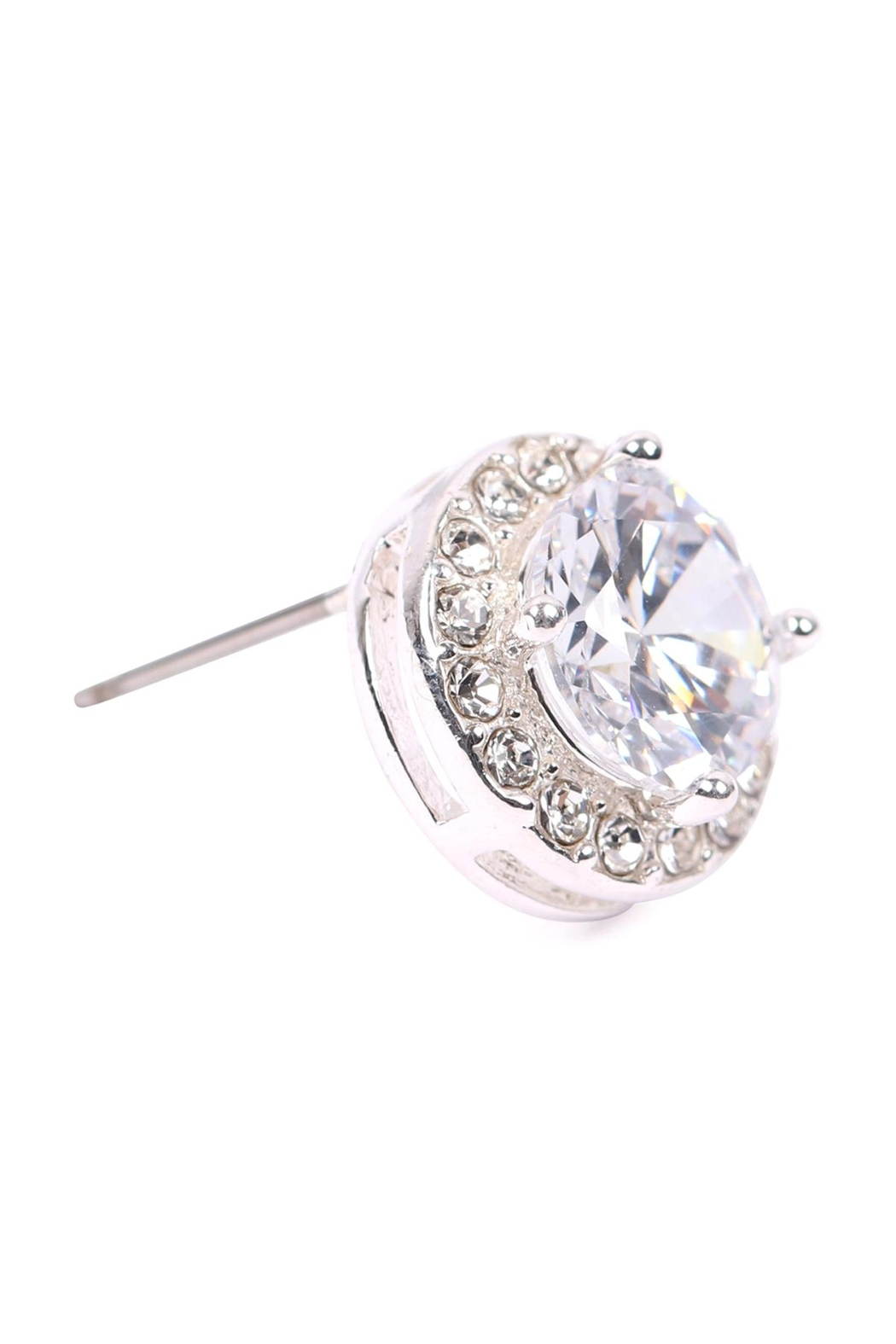 Riah Fashion 8mm-Round-Cubic-Zirconia-Halo-Post-Earrings - Side Cropped Image