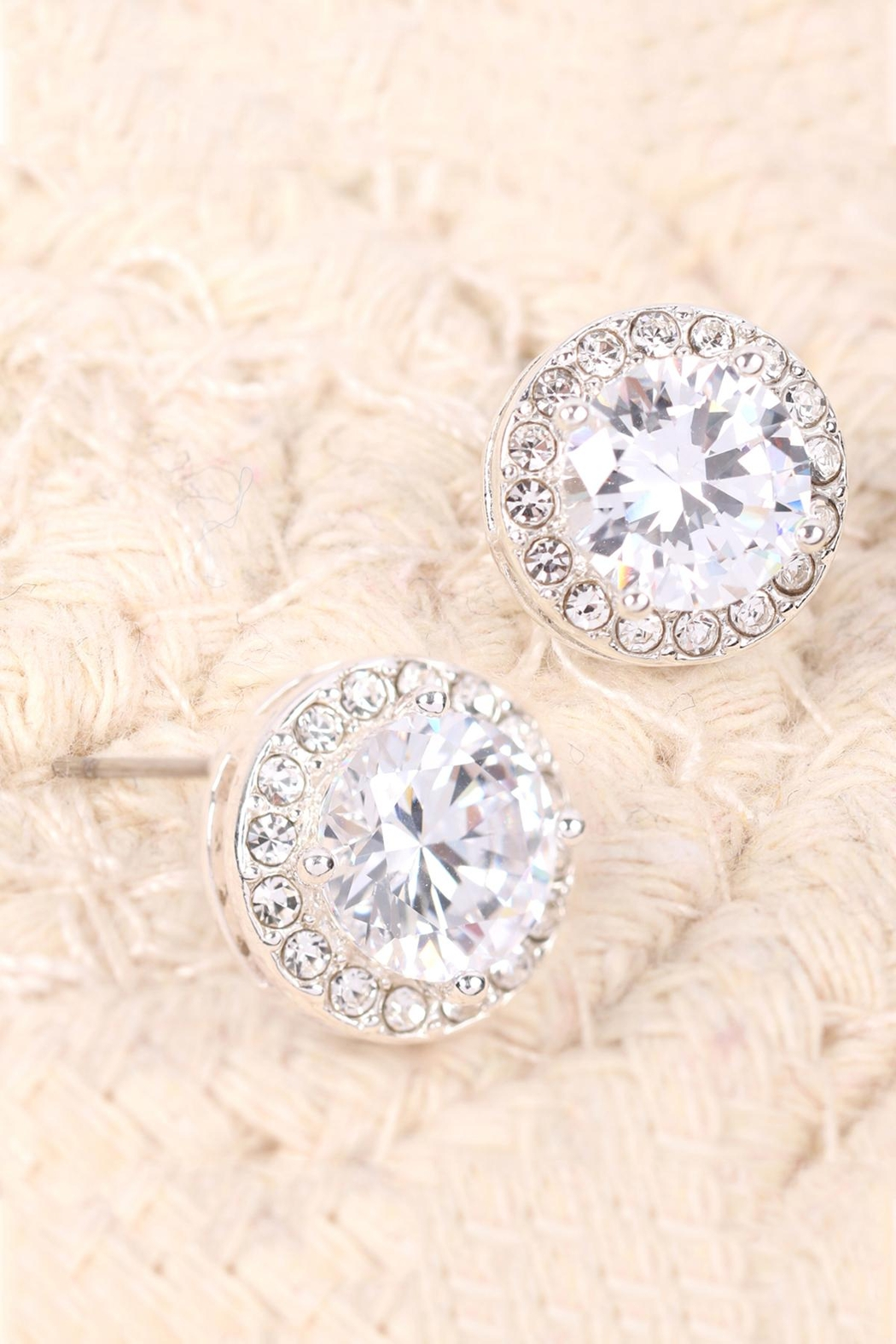 Riah Fashion 8mm-Round-Cubic-Zirconia-Halo-Post-Earrings - Front Full Image