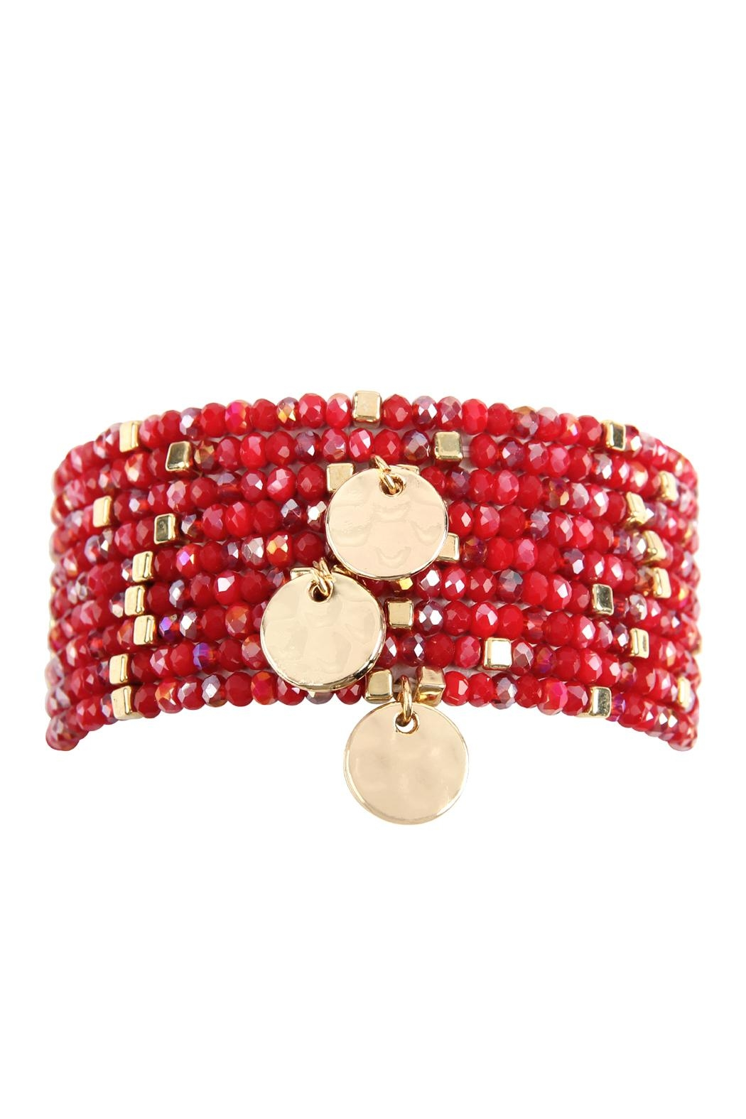 Riah Fashion 9-Line-Glass Beads-Stack-Bracelet - Front Cropped Image