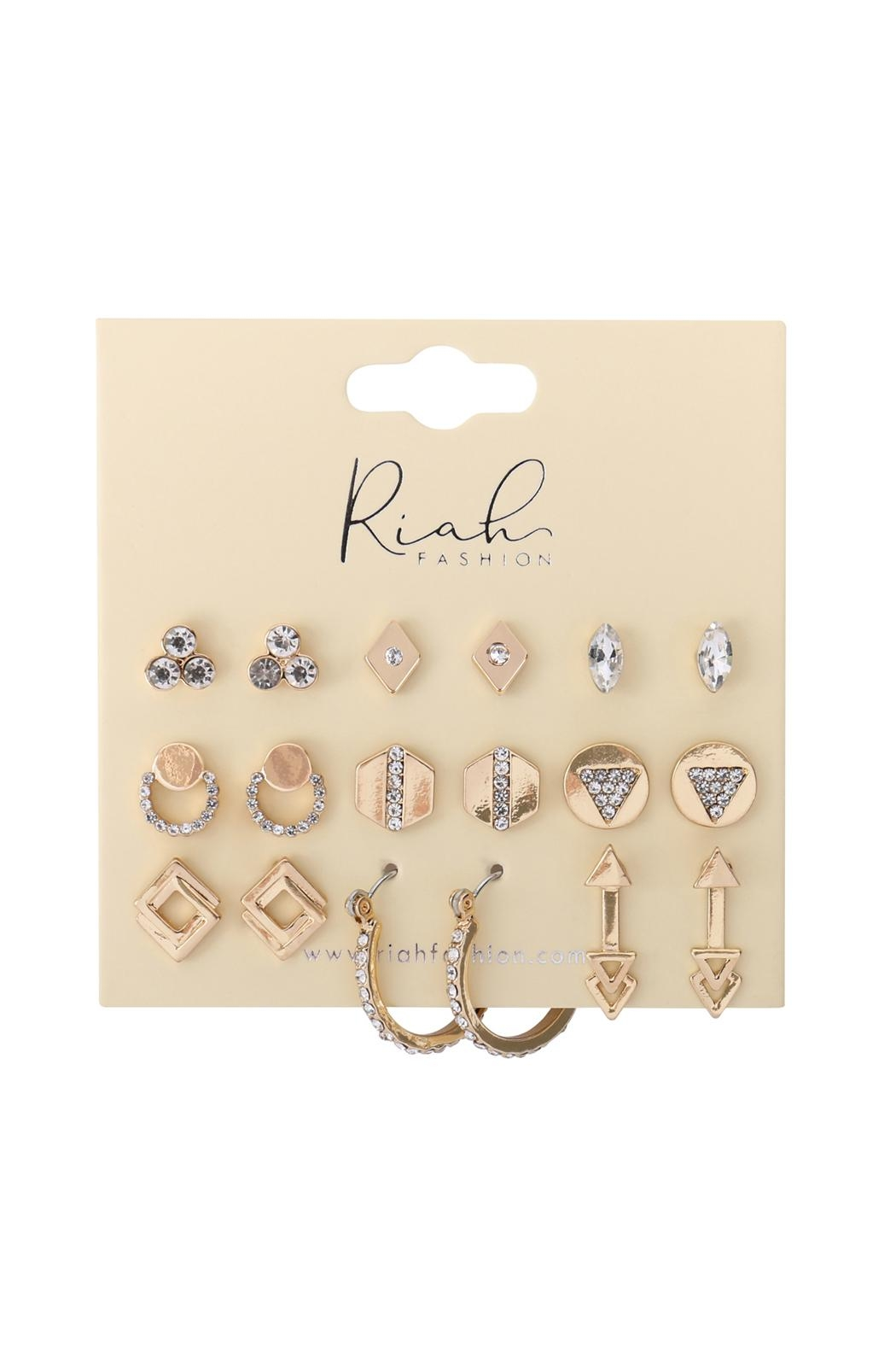 Riah Fashion 9-Pairs-Assorted-Geometric-Dainty-Earrings - Front Full Image