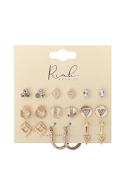 Riah Fashion 9-Pairs-Assorted-Geometric-Dainty-Earrings - Front full body