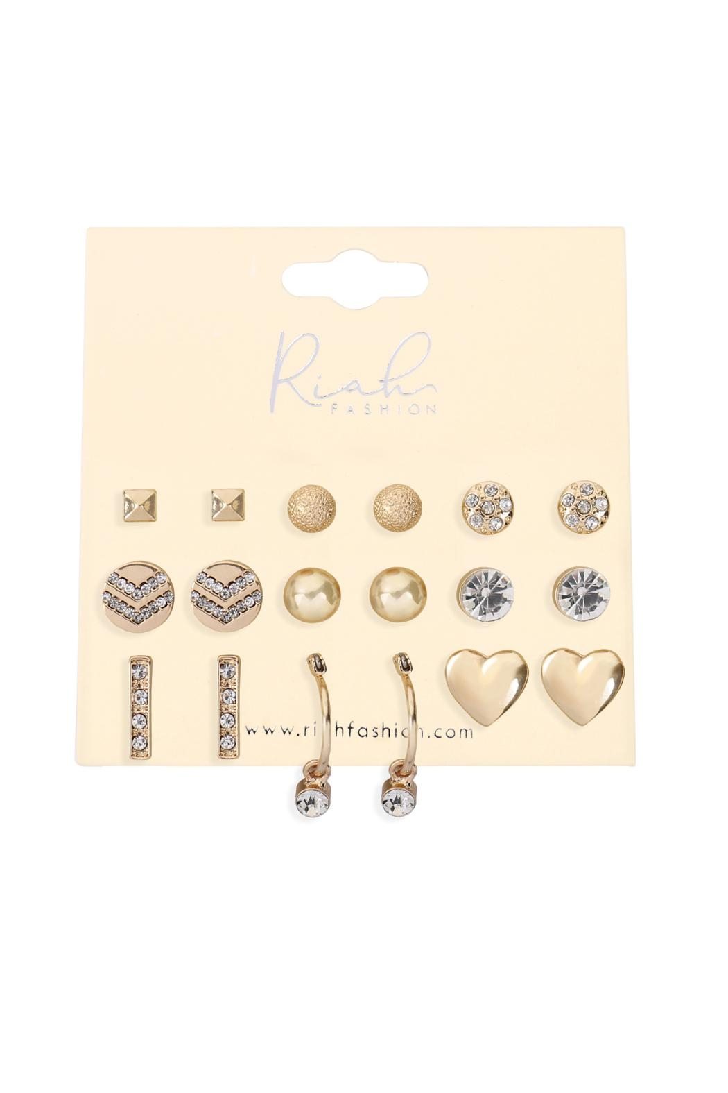 Riah Fashion 9-Pairs-Assorted-Heart-Round-Dainty-Earrings - Front Full Image