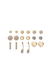 Riah Fashion 9-Pairs-Assorted-Heart-Round-Dainty-Earrings - Front cropped