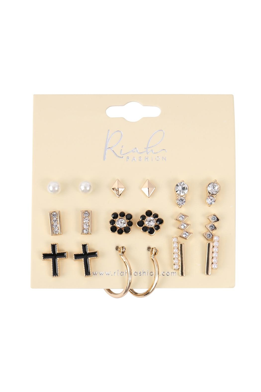 Riah Fashion 9-Pairs-Assorted-Pearl-Rhinestone-Dainty-Earrings - Front Full Image
