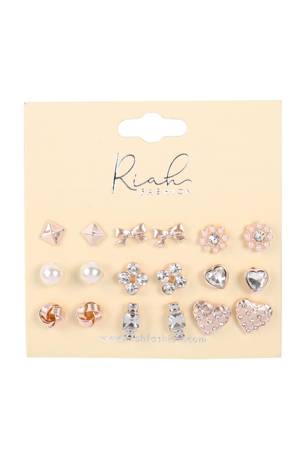Riah Fashion 9-Pairs-Assorted-Ribbon-Heart-Dainty-Earrings - Front Full Image