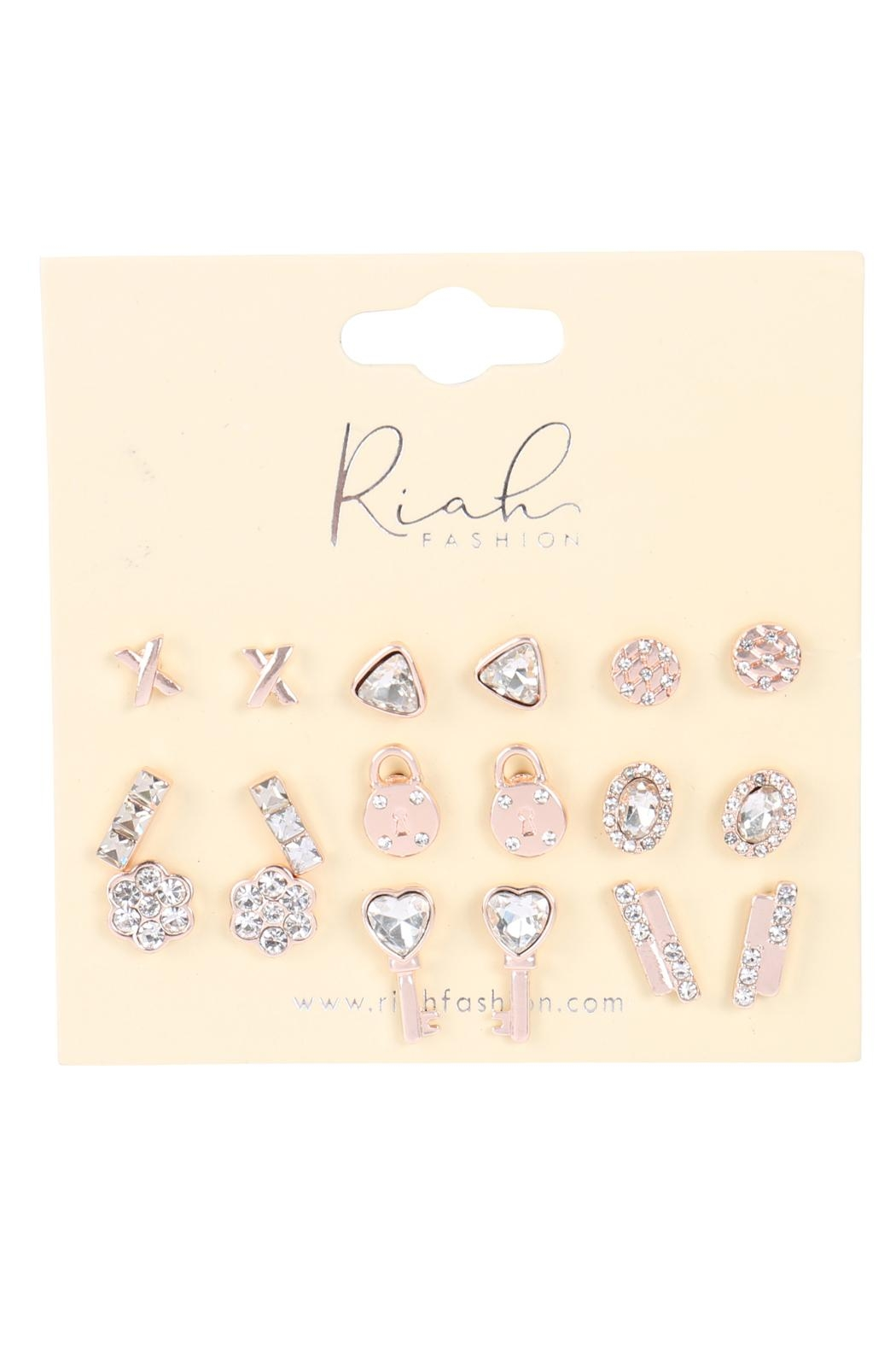 Riah Fashion 9-Pairs-Assorted-X-Heart-Lock-Dainty-Earrings - Front Full Image
