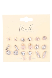 Riah Fashion 9-Pairs-Assorted-X-Heart-Lock-Dainty-Earrings - Front full body