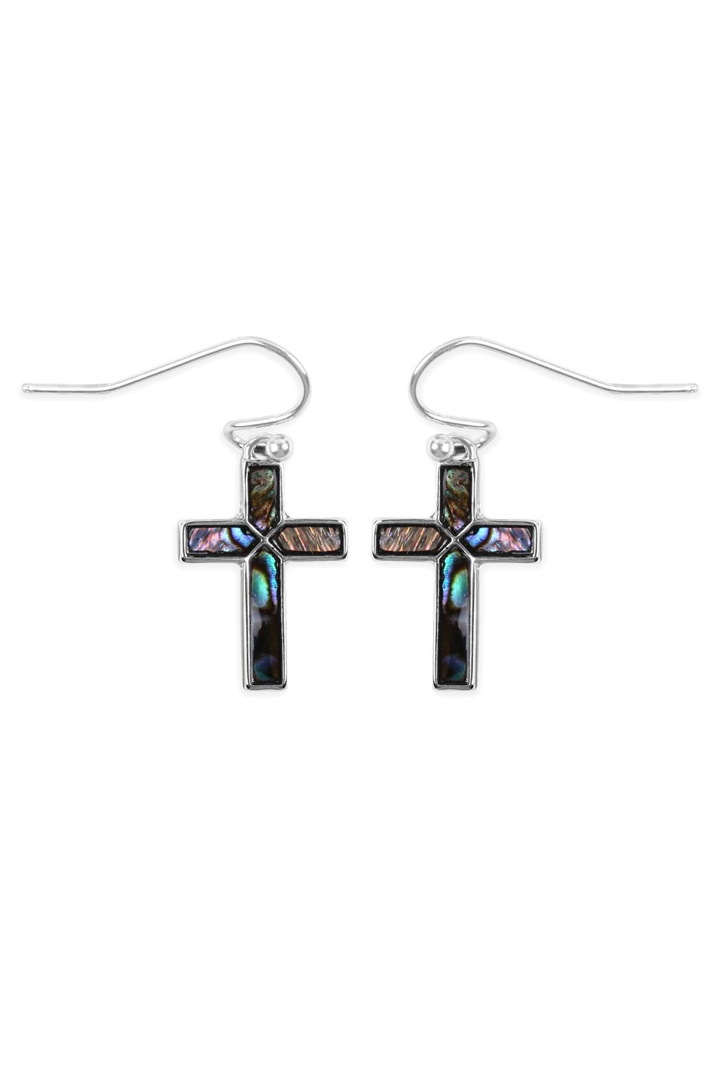 Riah Fashion Abalone Cross Earrings - Front Cropped Image