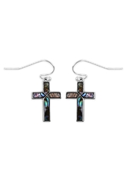 Riah Fashion Abalone Cross Earrings - Front cropped