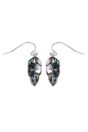 Riah Fashion Abalone Leaf Earrings - Front cropped