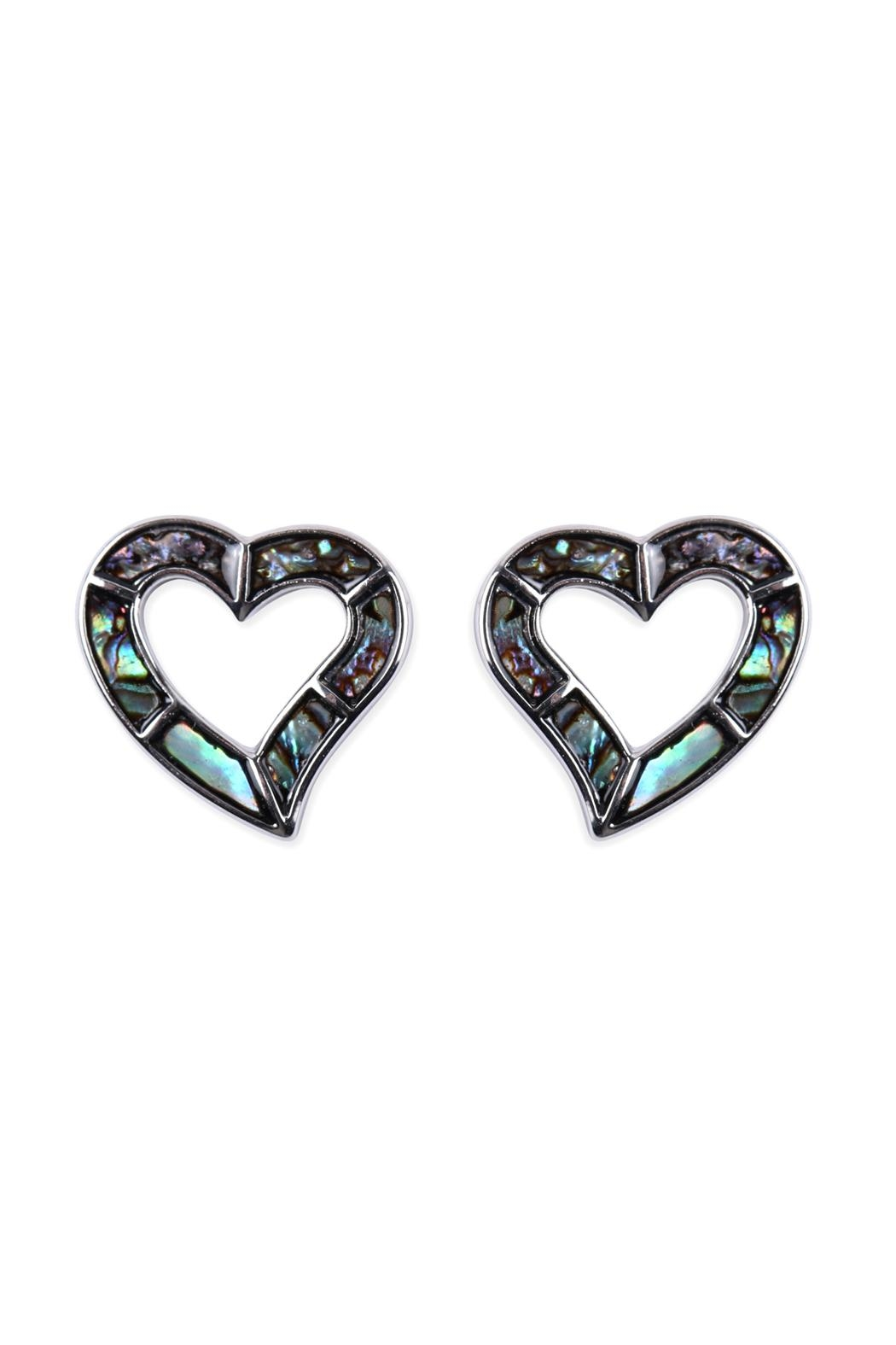Riah Fashion Abalone Open Heart Earrings - Front Cropped Image