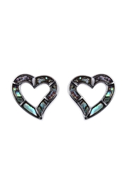 Riah Fashion Abalone Open Heart Earrings - Product Mini Image