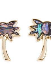 Riah Fashion Abalone Palm Tree Earrings - Product Mini Image