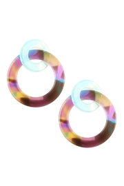 Riah Fashion Acetate-Double Hoop-Link-Earrings - Front cropped
