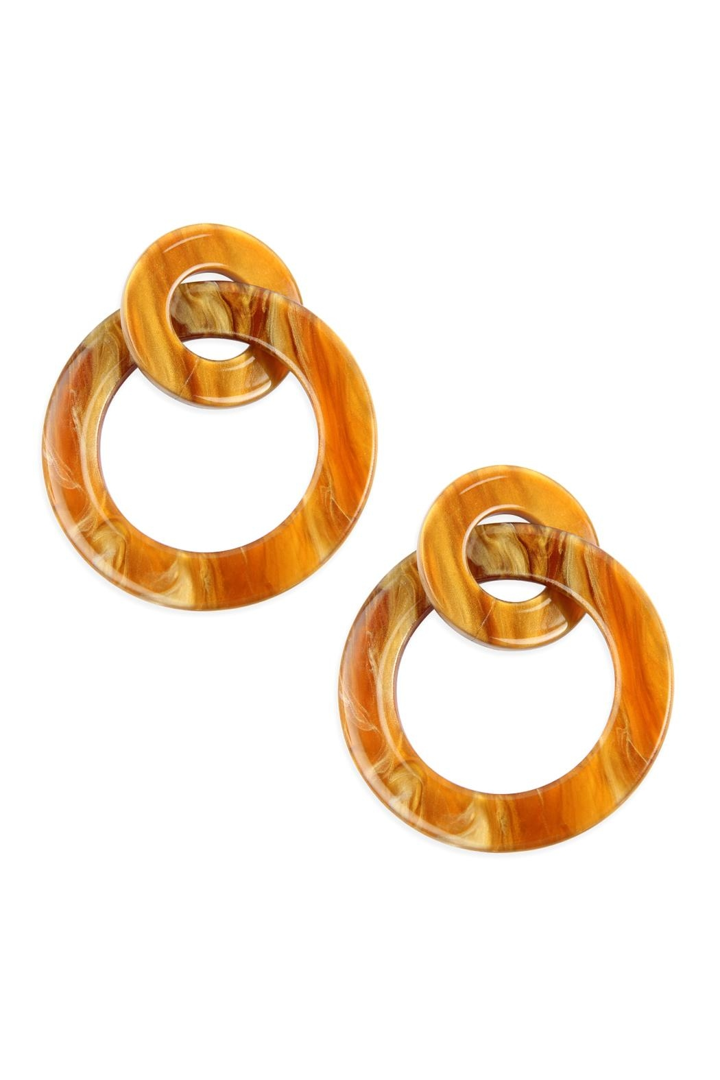 Riah Fashion Acetate-Double Hoop-Link-Earrings - Front Cropped Image