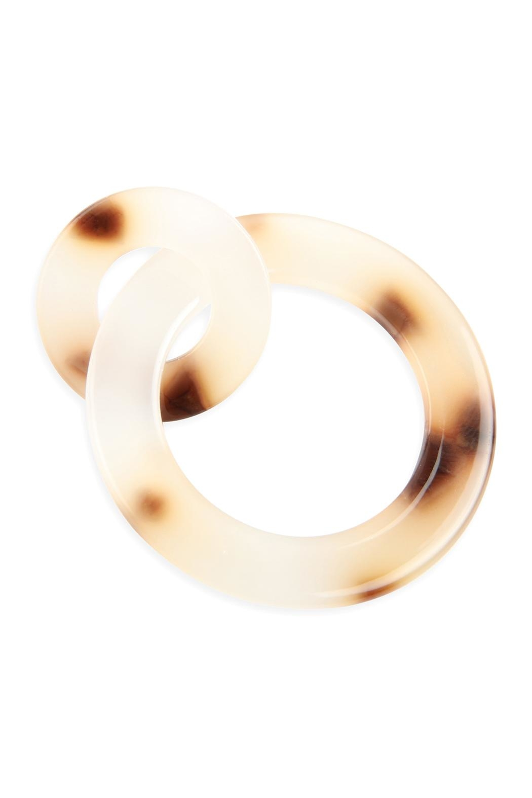 Riah Fashion Acetate-Double Hoop-Link-Earrings - Front Full Image