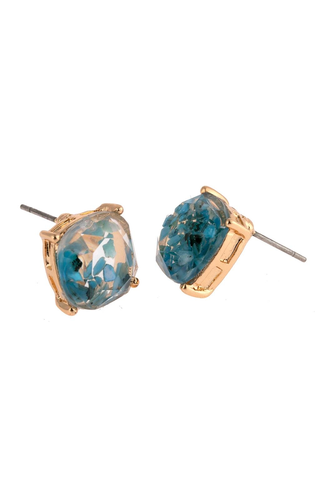Riah Fashion Acetated Natural Stone Post Earrings - Front Full Image