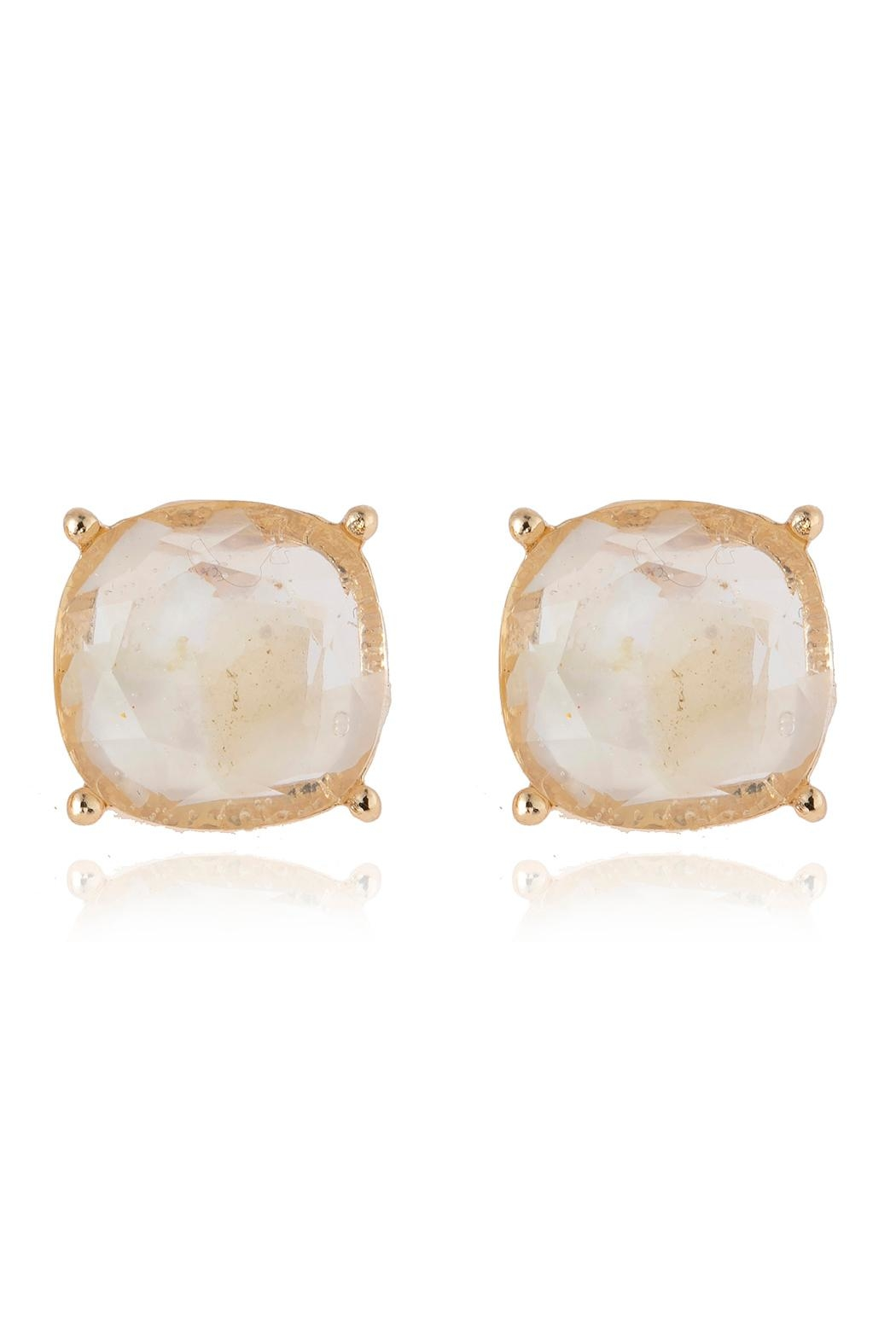 Riah Fashion Acetated Natural Stone Post Earrings - Front Cropped Image