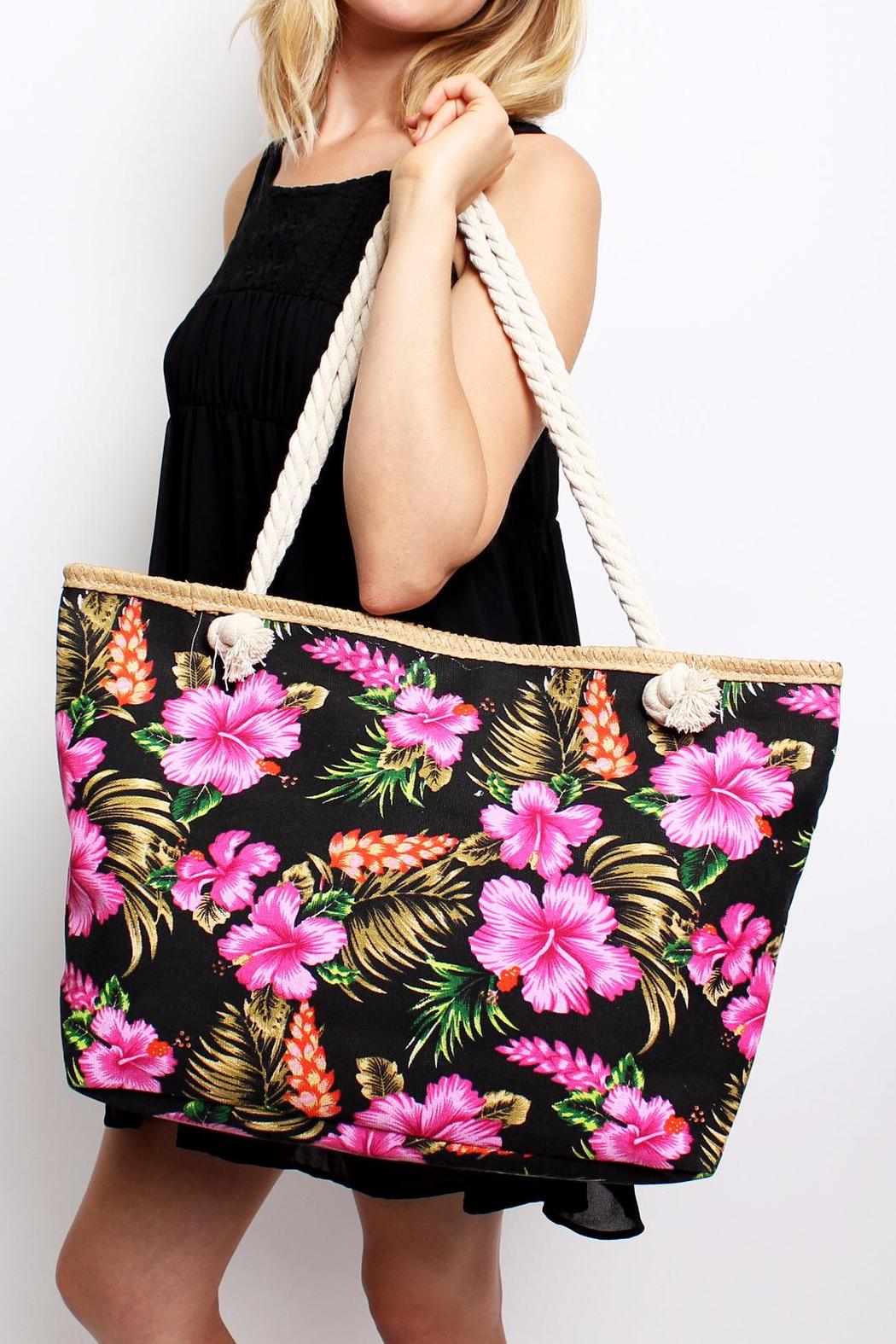 Riah Fashion Aloha Floral Tote - Side Cropped Image