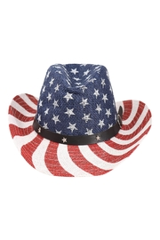 Riah Fashion American Flag Accent W/ Star Leather Belt Hat - Product Mini Image