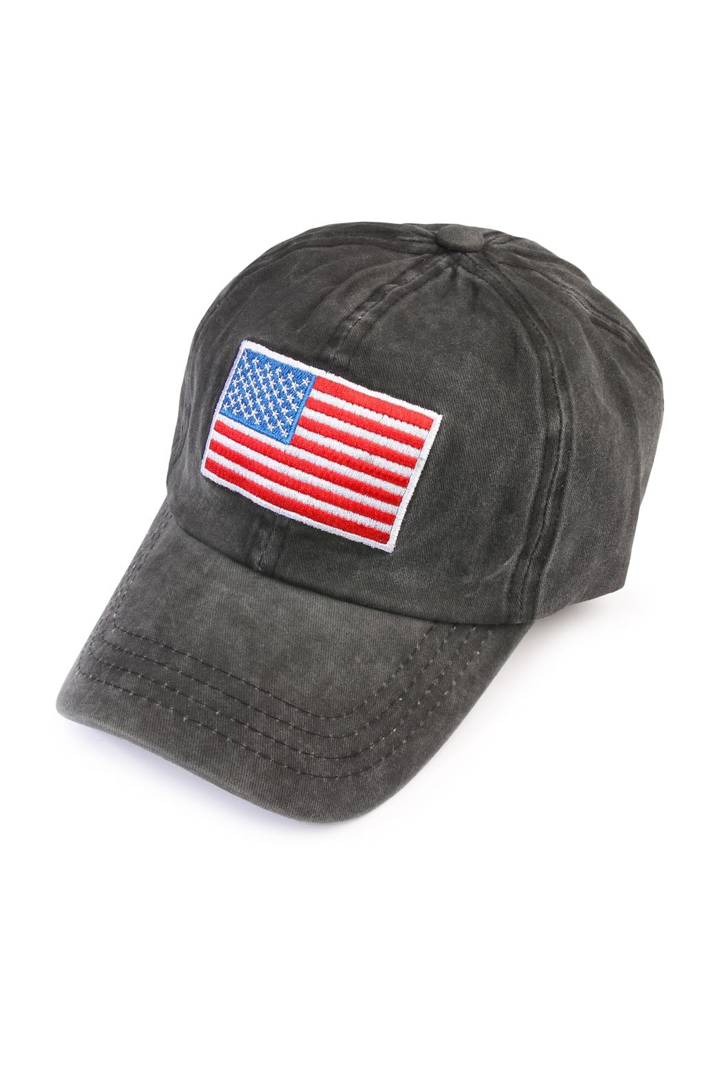 Riah Fashion American Flag Embroidered  Cap - Main Image