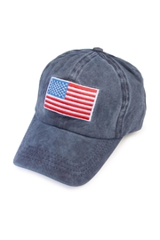 Riah Fashion American Flag Embroidered Cap - Front cropped
