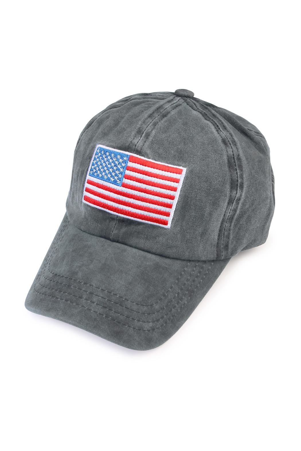Riah Fashion American Flag Embroidered Cap - Front Cropped Image