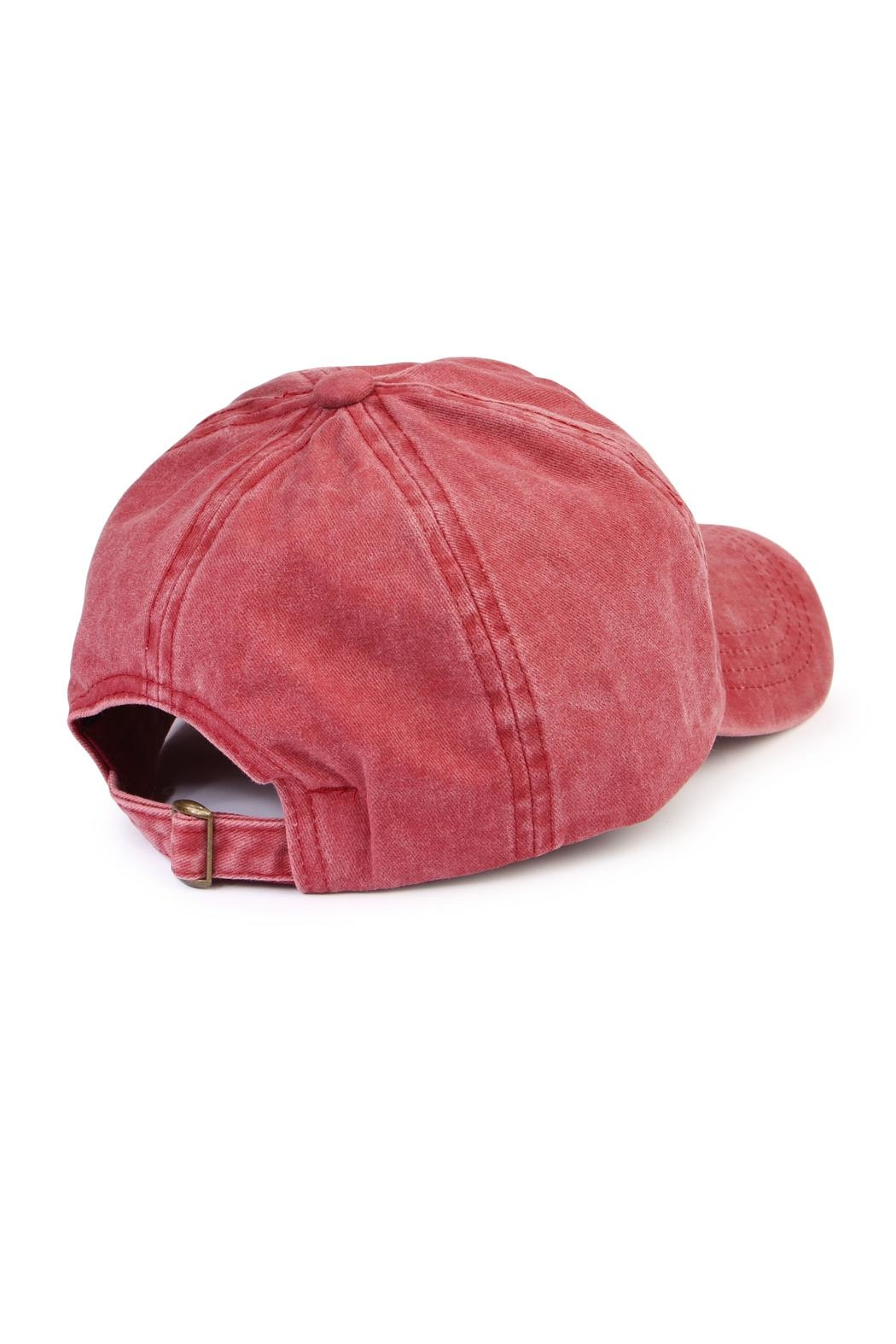 Riah Fashion American Flag Embroidered Cap - Front Full Image