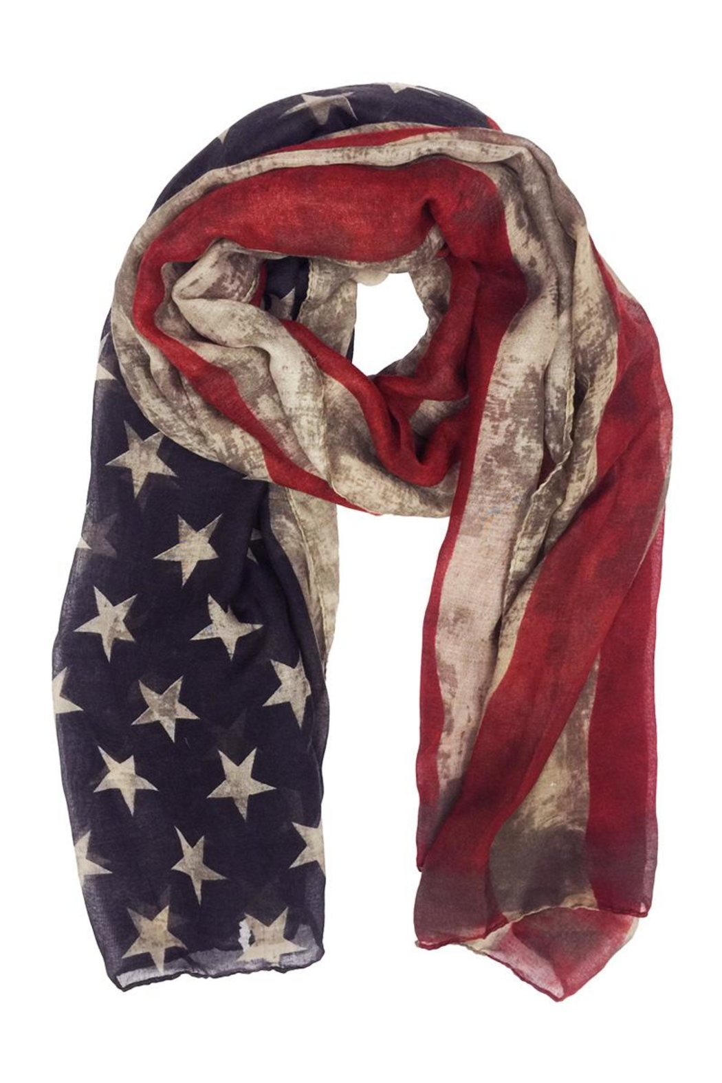 Riah Fashion American Flag Oblong Scarf - Front Cropped Image